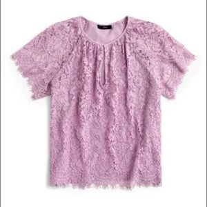 J. Crew Short Sleeve Lace Top Vivid Lilac Small